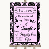 Baby Pink Damask Hankies And Tissues Customised Wedding Sign