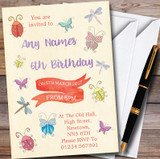 Girls Bugs & Insects Customised Children's Party Invitations
