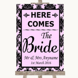 Baby Pink Damask Here Comes Bride Aisle Sign Customised Wedding Sign