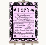 Baby Pink Damask I Spy Disposable Camera Customised Wedding Sign
