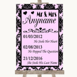 Baby Pink Damask Important Special Dates Customised Wedding Sign