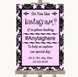 Baby Pink Damask Instagram Photo Sharing Customised Wedding Sign