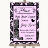 Baby Pink Damask Jenga Guest Book Customised Wedding Sign