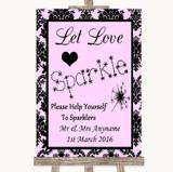 Baby Pink Damask Let Love Sparkle Sparkler Send Off Customised Wedding Sign