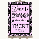 Baby Pink Damask Love Is Sweet Take A Treat Candy Buffet Wedding Sign