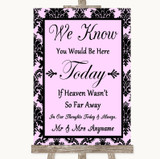 Baby Pink Damask Loved Ones In Heaven Customised Wedding Sign