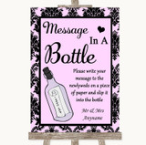 Baby Pink Damask Message In A Bottle Customised Wedding Sign