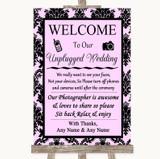 Baby Pink Damask No Phone Camera Unplugged Customised Wedding Sign