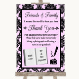 Baby Pink Damask Photo Guestbook Friends & Family Customised Wedding Sign