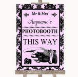 Baby Pink Damask Photobooth This Way Left Customised Wedding Sign