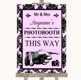 Baby Pink Damask Photobooth This Way Right Customised Wedding Sign