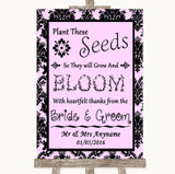 Baby Pink Damask Plant Seeds Favours Customised Wedding Sign