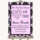 Baby Pink Damask Puzzle Piece Guest Book Customised Wedding Sign