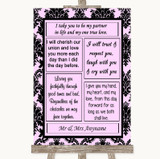 Baby Pink Damask Romantic Vows Customised Wedding Sign