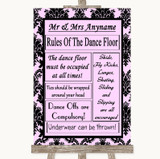 Baby Pink Damask Rules Of The Dancefloor Customised Wedding Sign