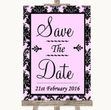 Baby Pink Damask Save The Date Customised Wedding Sign