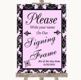 Baby Pink Damask Signing Frame Guestbook Customised Wedding Sign