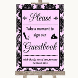 Baby Pink Damask Take A Moment To Sign Our Guest Book Customised Wedding Sign
