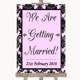 Baby Pink Damask We Are Getting Married Customised Wedding Sign