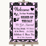 Baby Pink Damask Welcome Order Of The Day Customised Wedding Sign