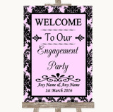 Baby Pink Damask Welcome To Our Engagement Party Customised Wedding Sign