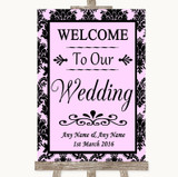 Baby Pink Damask Welcome To Our Wedding Customised Wedding Sign