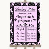 Baby Pink Damask Who's Who Leading Roles Customised Wedding Sign