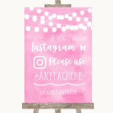 Baby Pink Watercolour Lights Instagram Hashtag Customised Wedding Sign