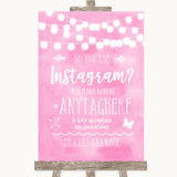 Baby Pink Watercolour Lights Instagram Photo Sharing Customised Wedding Sign