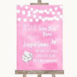 Baby Pink Watercolour Lights Jenga Guest Book Customised Wedding Sign