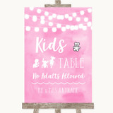 Baby Pink Watercolour Lights Kids Table Customised Wedding Sign