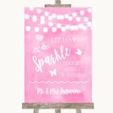 Baby Pink Watercolour Lights Let Love Sparkle Sparkler Send Off Wedding Sign