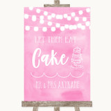 Baby Pink Watercolour Lights Let Them Eat Cake Customised Wedding Sign