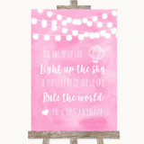 Baby Pink Watercolour Lights Light Up The Sky Rule The World Wedding Sign
