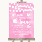 Baby Pink Watercolour Lights Loved Ones In Heaven Customised Wedding Sign