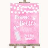 Baby Pink Watercolour Lights Message In A Bottle Customised Wedding Sign