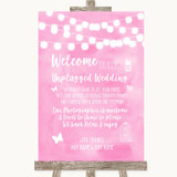 Baby Pink Watercolour Lights No Phone Camera Unplugged Customised Wedding Sign