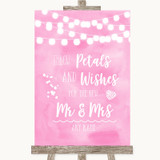 Baby Pink Watercolour Lights Petals Wishes Confetti Customised Wedding Sign