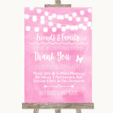 Baby Pink Watercolour Lights Photo Guestbook Friends & Family Wedding Sign