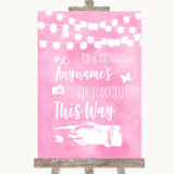Baby Pink Watercolour Lights Photobooth This Way Left Customised Wedding Sign
