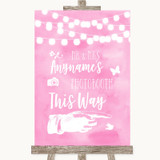 Baby Pink Watercolour Lights Photobooth This Way Right Customised Wedding Sign