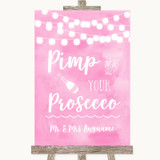 Baby Pink Watercolour Lights Pimp Your Prosecco Customised Wedding Sign