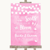 Baby Pink Watercolour Lights Plant Seeds Favours Customised Wedding Sign