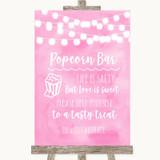 Baby Pink Watercolour Lights Popcorn Bar Customised Wedding Sign