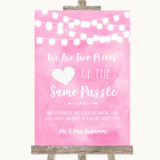 Baby Pink Watercolour Lights Puzzle Piece Guest Book Customised Wedding Sign