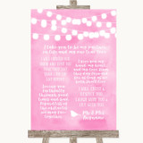 Baby Pink Watercolour Lights Romantic Vows Customised Wedding Sign