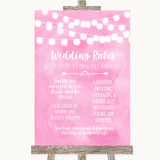 Baby Pink Watercolour Lights Rules Of The Wedding Customised Wedding Sign