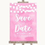 Baby Pink Watercolour Lights Save The Date Customised Wedding Sign