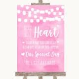 Baby Pink Watercolour Lights Sign a Heart Customised Wedding Sign