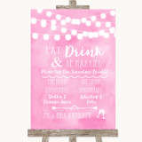 Baby Pink Watercolour Lights Signature Favourite Drinks Wedding Sign